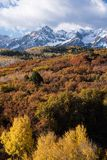Dallas Divide view of the Mount Sneffels Range within the Uncompahgre National Forest, Colorado. Mount Sneffels Mountain Range with a fresh early autumn snow stock photography