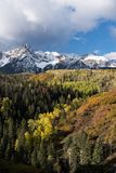 Mount Sneffels Mountain Range located in Southwestern Colorado. The Sneffels Mountain Range in early Autumn, located within the Uncompahgre National Forest in stock image