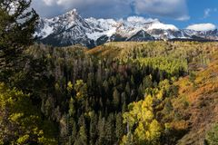 Mount Sneffels Mountain Range located in Southwestern Colorado. The Sneffels Mountain Range in early Autumn, located within the Uncompahgre National Forest in stock photos