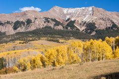 Mount Sneffels Mountain Range on the North Western side. Viewed from the Last Dollar Road, Colorado. The Sneffels Mountain Range in early Autumn viewed from the stock photography