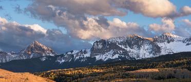 Mount Sneffels Mountain Range on the North Western side. Viewed from the Last Dollar Road, Colorado. The Sneffels Mountain Range in early Autumn viewed from the royalty free stock images