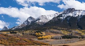 Mount Sneffels Mountain Range on the North Western side. Viewed from the Last Dollar Road, Colorado. The Sneffels Mountain Range in early Autumn viewed from the royalty free stock image