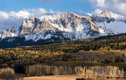 Mount Sneffels Range on the west end viewed from the Last Dollar Road, Colorado. The Sneffels Mountain Range in early Autumn viewed from the Last Dollar Road royalty free stock photo
