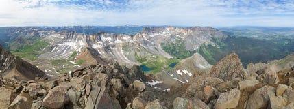 Mount Sneffels San Juan Mountain Panorama. Panorama from the San Juan Mountains summit of Mount Sneffels stock image