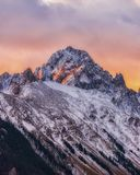 Mount Sneffels at Sunrise. Mount Sneffels is the highest summit of the Sneffels Range in the Rocky Mountains of North America. The prominent 14,158-foot 4315.4 m stock photos