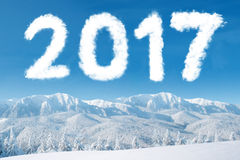 Mount snow with cloud of 2017 Stock Photo