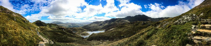 Mount Snowdon. Hiking trails to the summit of Mount Snowdon, Snowdonia, Wales Stock Image