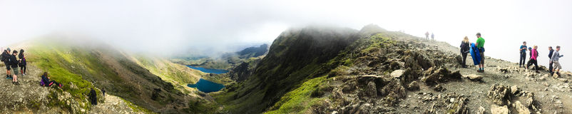 Mount Snowdon. Hiking trails to the summit of Mount Snowdon, Snowdonia, Wales Stock Photography