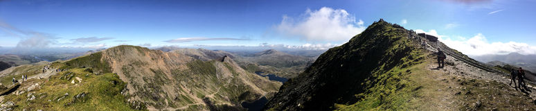 Mount Snowdon. Hiking trails to the summit of Mount Snowdon, Snowdonia, Wales Stock Photo