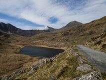 Mount Snowdon from Pen-y-Pass. Snowdonia seen from the path from Pen-y-pass, with small lake in the center, hikers path along the old miners route; the mountain Royalty Free Stock Images