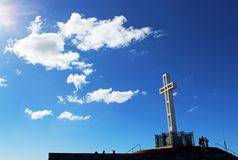 The Mount Soledad cross monument, San Diego royalty free stock image