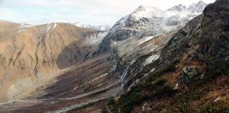 Mount Sophia with waterfalls. Mount Sophia with waterfalls at autumn. Sophia glacier Stock Photos