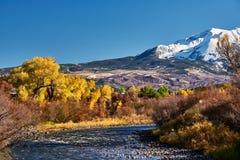 Mount Sopris autumn landscape in Colorado. Rocky Mountains, USA stock photo