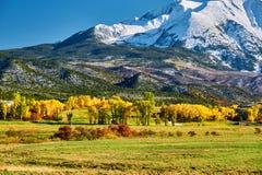 Mount Sopris autumn landscape in Colorado. Rocky Mountains, USA stock images