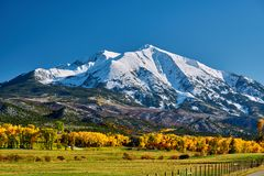 Mount Sopris autumn landscape in Colorado. Rocky Mountains, USA royalty free stock image