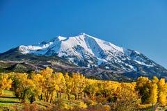 Mount Sopris autumn landscape in Colorado. Rocky Mountains, USA stock photography