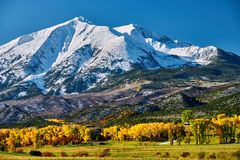 Mount Sopris autumn landscape in Colorado. Rocky Mountains, USA royalty free stock photography
