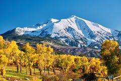 Mount Sopris autumn landscape in Colorado. Rocky Mountains, USA royalty free stock photos