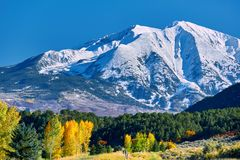 Mount Sopris autumn landscape in Colorado. USA royalty free stock images