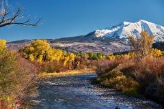 Mount Sopris autumn landscape in Colorado. Rocky Mountains, USA stock photos