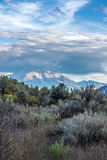 Mount Sopris in Sun and Clouds. Late afternoon view of Mount Sopris in the distance and sagebrush in the foreground with sunlight and clouds - vertical, low Stock Photo