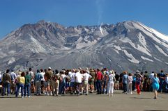Mount St Helens. People gathering in front of Johnston Vistor Center watching the active volcano Royalty Free Stock Photography