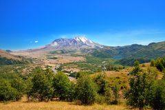 Mount St Helens, lake and forest Stock Photo