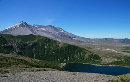 Mount St. Helens volcano and Spirit Lake 35 years after eruption Royalty Free Stock Photography