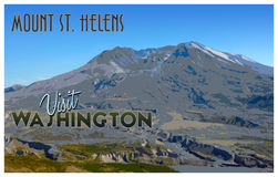 Mount St. Helens, WA vintage tourism style illustration. Royalty Free Stock Photos