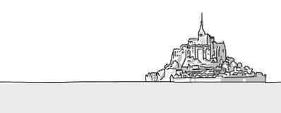 Mount St Michel Hand drawn sketch Stock Photos