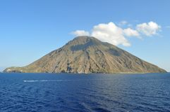 Mount Stromboli. Is a small island in the Tyrrhenian Sea, off the north coast of Sicily. It has been an active volcano for the past 2,000 years and has been Stock Photography