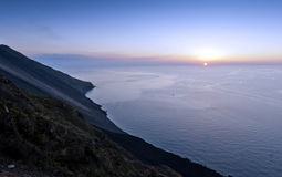 Mount Stromboli and sunset Stock Photography