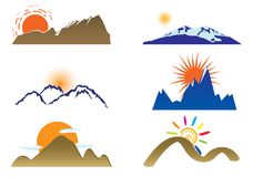 Mount and sun. Set for you design stock illustration