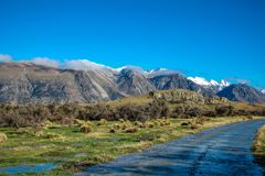 Mount Sunday landscape, scenic view of Mount Sunday and surroundings in Ashburton Lakes District, South Island, New Zealand stock photos