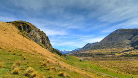 Mount Sunday and surrounding mountain ranges, used in filming Lord of the Rings movie Edoras scene, in New Zealand Royalty Free Stock Image