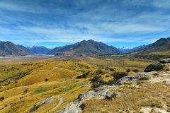 Mount Sunday and surrounding mountain ranges, used in filming Lord of the Rings movie Edoras scene, in New Zealand Royalty Free Stock Photos