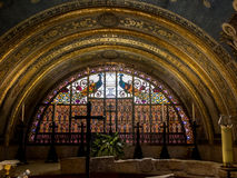 MOUNT TABOR, ISRAEL, July 10, 2015: Ornate stained with peacocks Stock Photography