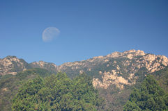 Mount Tai and Moon in China Royalty Free Stock Photos