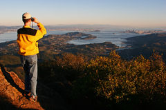 Mount Tam Overlook. Viewing the sweeping vista of the entire San Francisco Bay area from the 2,571' summit of Mount Tamalpais at sunset Royalty Free Stock Image
