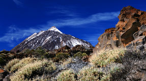 Mount Teide. Scenic view of snow capped Mount Teide on island of Lanzarote, Canary Islands, Spain royalty free illustration