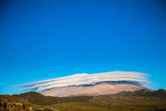 Mount Teide covered with the cap of clouds Stock Images