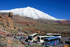 Mount Teide, Spain - February 23, 2008: Parking Lot With Buses And Tourists Royalty Free Stock Photos