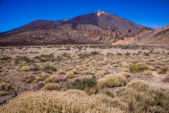 Mount Teide, Tenerife. Landscape view of Mount Teide, taken from within the Teide National Park. Small amount of snow on summit Royalty Free Stock Photos