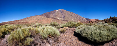Mount Teide, Tenerife. Landscape view of Mount Teide, taken from within the Teide National Park. Small amount of snow on summit Stock Image