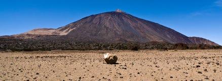Mount Teide volcano with erratic rock, Tenerife Stock Photography
