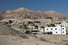 The Mount of Temptation. From the city of Jericho, Palestine stock image