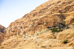 Mount of Temptation next to Jericho - place where Jesus was temp Stock Photo