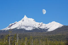 Mount Thielsen with winter moon Stock Photo
