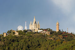Mount Tibidabo with the church Royalty Free Stock Photography