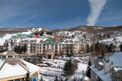 Mount Tremblant Welkome. The village of Mont Tremblant in the snow, in the Laurentians, Quebec, Canada Stock Image